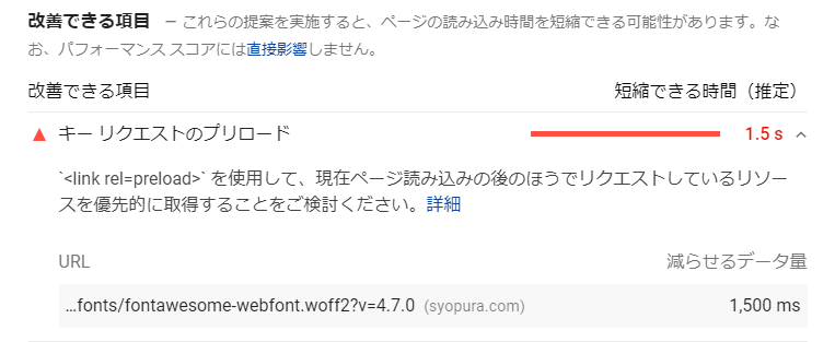 PageSpeed Insightsがキー リクエストを改善